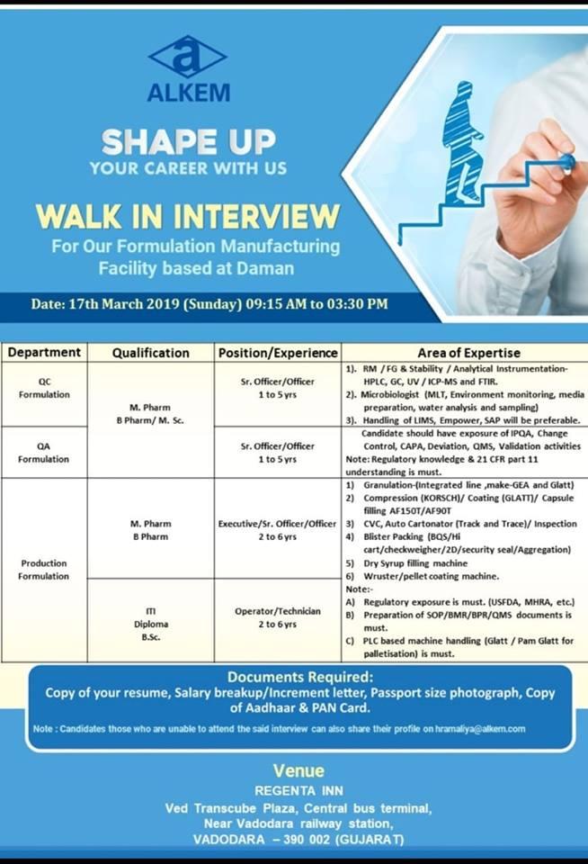 Alkem Laboratories Limited - Multiple Vacancies - Walk-In Interview