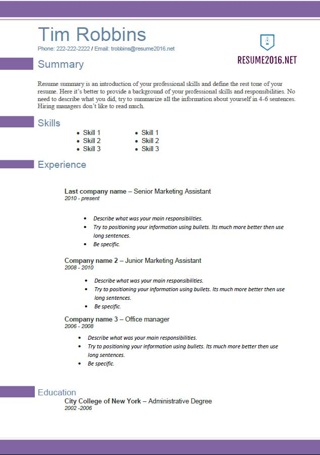 sample resumes 2016