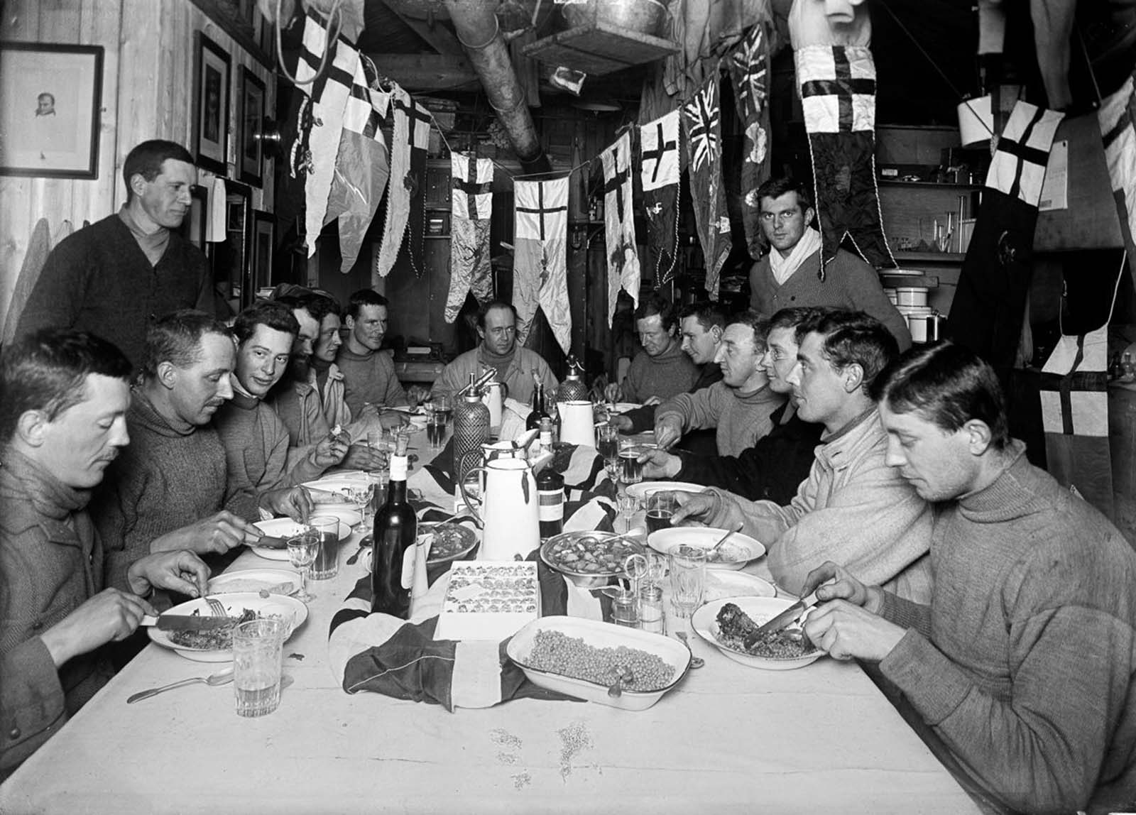 Capt. Scott, at the head of the table, celebrates his 43rd birthday. June 6, 1911.