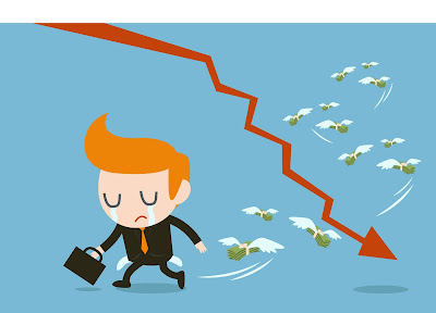 graphic of a sad businessman walking away from a downward sales arrow and money flying away on wings