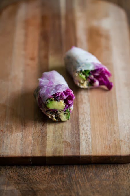 Sesame Crusted Avocado & Cabbage Spring Rolls appetizer