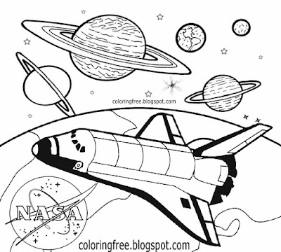 How to sketch spaceship and planets space drawing for kids solar system picture to print and color