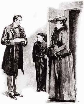 Sherlock Holmes with his client, Mary Sutherland in Sidney Paget's illustration for A Case of Identity