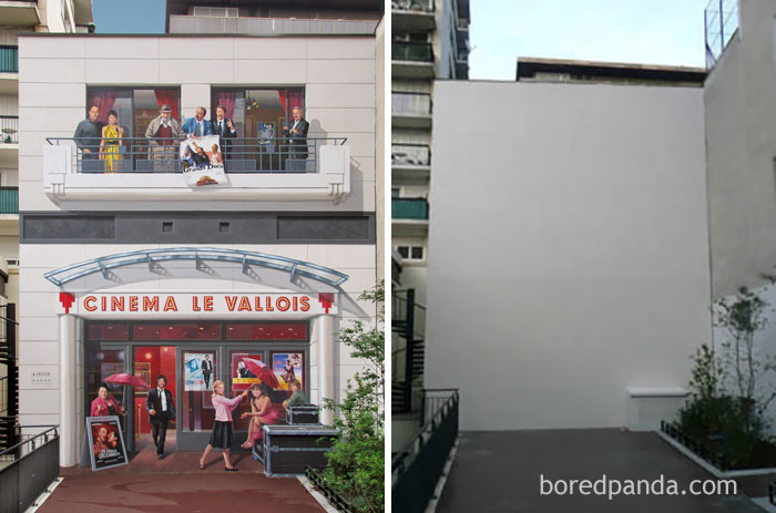 10+ Incredible Before & After Street Art Transformations That'll Make You Say Wow - Cinéma 'Le Vallois', Levallois, France