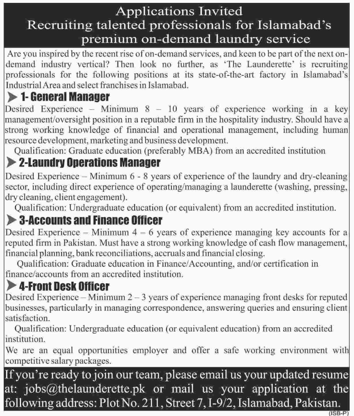 Managers and Front Desk Officer is required in Islamabad