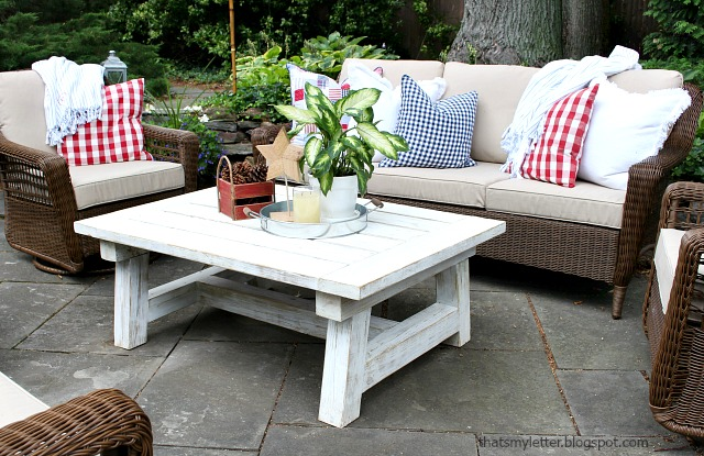 outdoor patio with painted coffee table