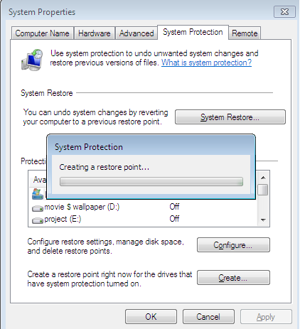 Create System Restore point in windows 8 step 5