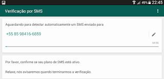 Verificar SMS para criar Whats App