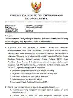 Soal Ujian Seleksi CPNS 2015 untuk Mata Ujian Bahasa Indonesia