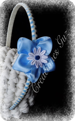 diadema forrada en tres colores y flor aul celeste bebe para niña pequeña