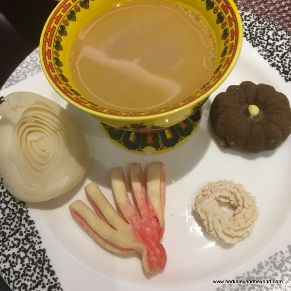 Tibetan breakfast with yak butter tea at Tibet Hotel Chengdu in Chengdu, China