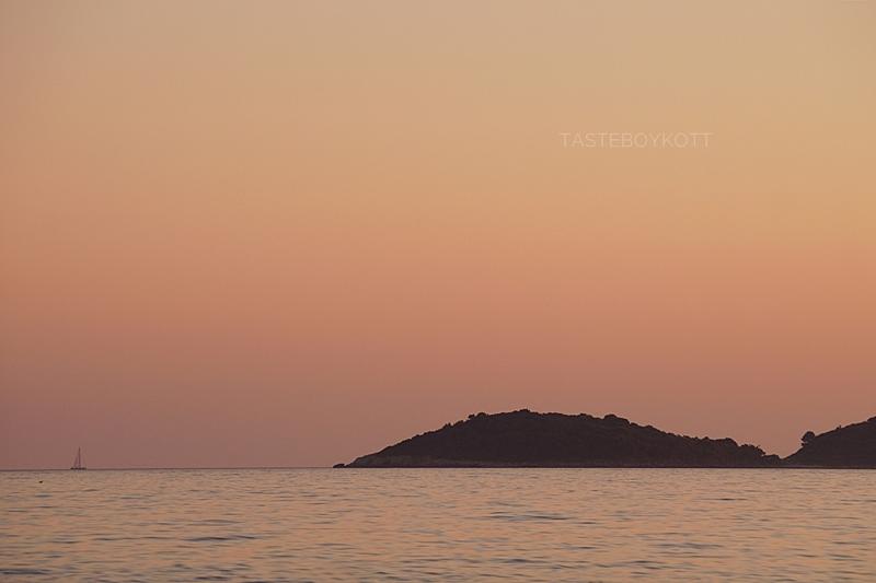 Croatia island sunset pink sky sea evening summer
