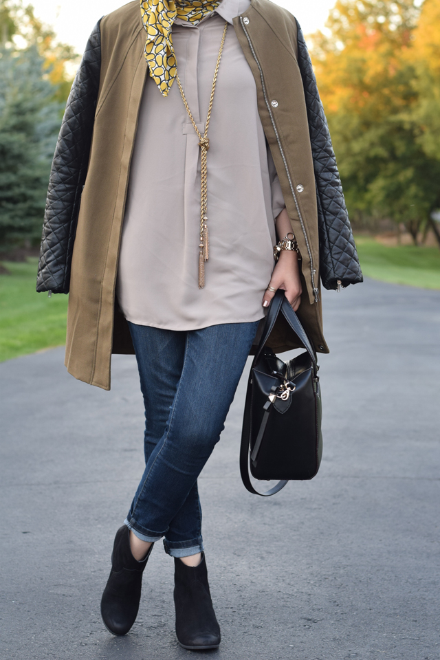 Fall Coats - Leather Sleeve Coat - Coats for Fall - Olive color coat