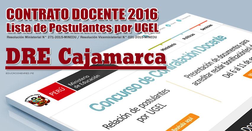 Dre cajamarca lista de postulantes por ugel para plazas for Plazas vacantes concurso docente 2016