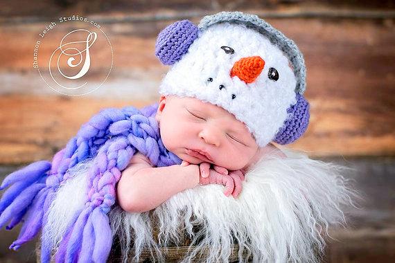 Christmas baby snowman hat Crochet pattern