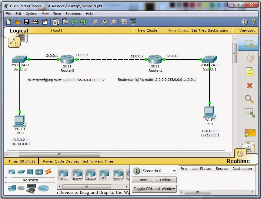 Create VPN Using Cisco Packet Tracer 5 3