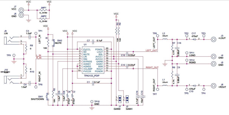 tpa3122 class d amplifier-circuit