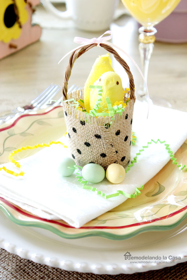 burlap ribbon peeps basket in Easter tablescape
