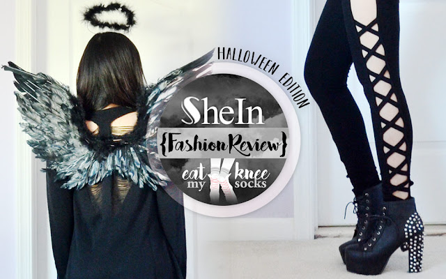 A simple and effortless last-minute dark fallen angel Halloween outfit, featuring feathered wings, a black halo, and a ripped sweater and lattice cutout leggings ensemble from SheIn. - Eat My Knee Socks / Mimchikimchi