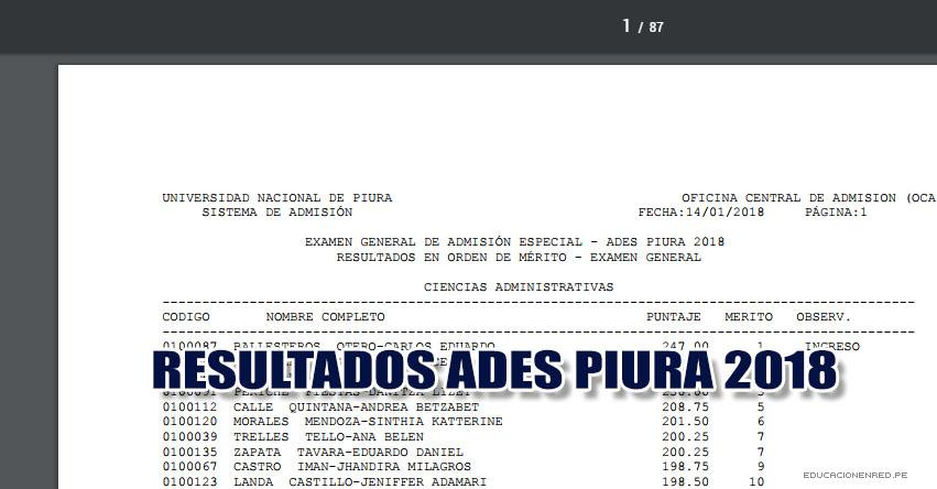 UNP: Resultados ADES 2018 (Examen 14 Enero) IDEPUNP Orden de Mérito - Centralizado y Descentralizado (Sullana - Talara - Paita - Sechura - Chulucanas - Tambogrande - Piura - Ayabaca - Huancabamba) Universidad Nacional de Piura - www.unp.edu.pe