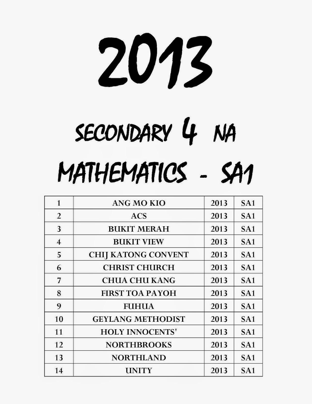 Top Primary School Exam Paper : Secondary 4