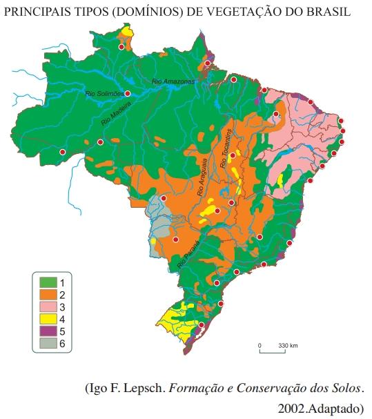 Principais tipos domínios de vegetação do Brasil