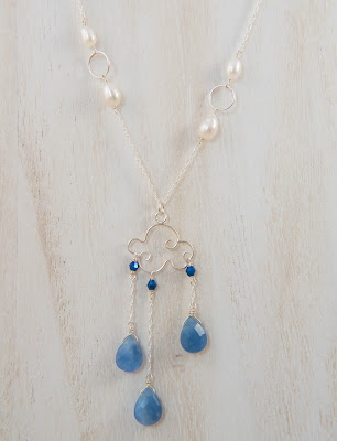 handmade raining cloud necklace pendant dangling pendant blue white quartz crystal gemstone sterling silver