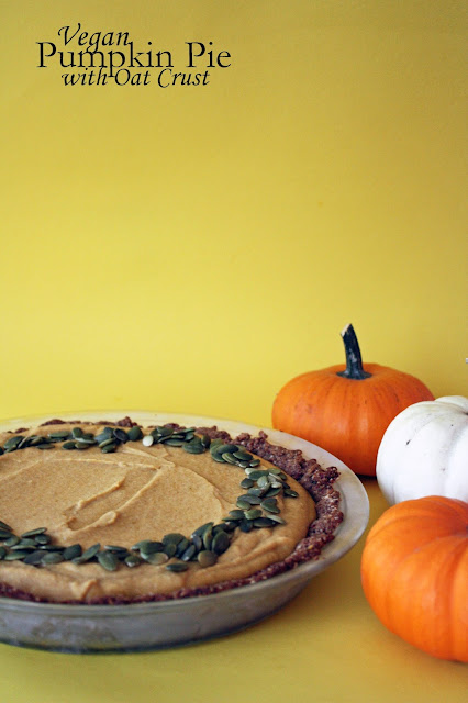 vegan pumpkin pie with oat crust