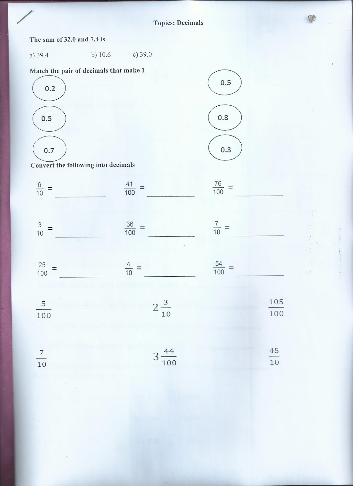 The City School Math Revision Worksheet 2nd Term