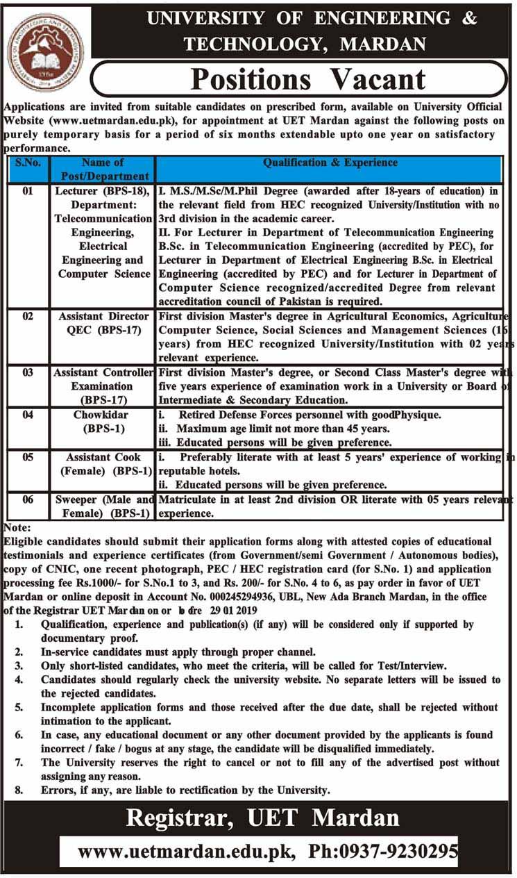 Jobs in University of Engineering & Technology, Mardan 2019