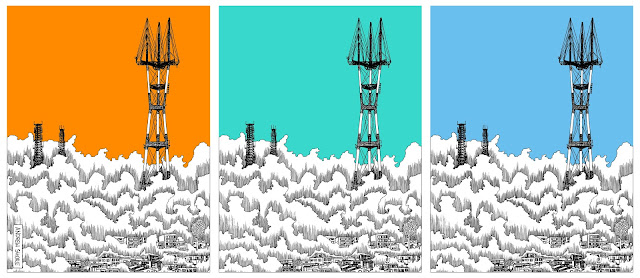 Sutro tower ink drawing in three colors