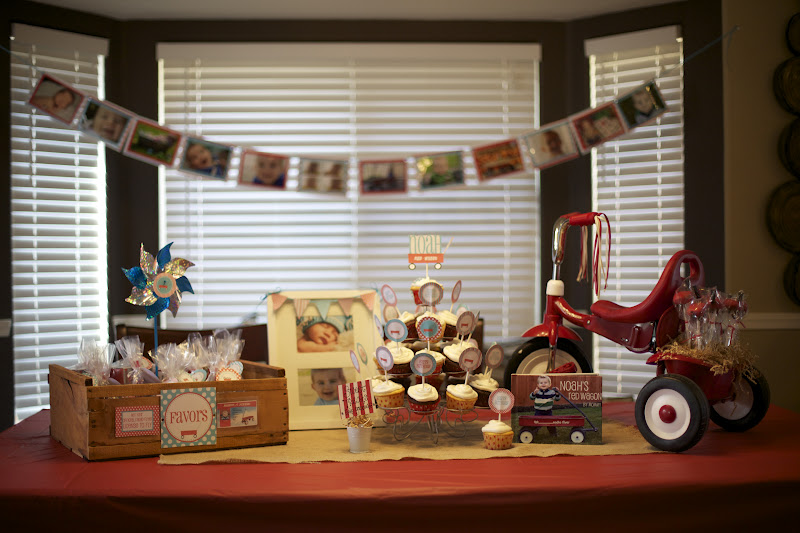 Growing Up Gardner Red Wagon 1st Birthday Party