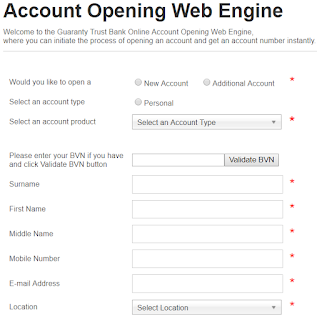 GTBank online account opening form