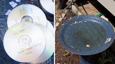 Pileta con CDs reciclados