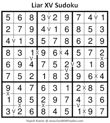 Liar XV Sudoku (Fun With Sudoku #222) Puzzle Answer