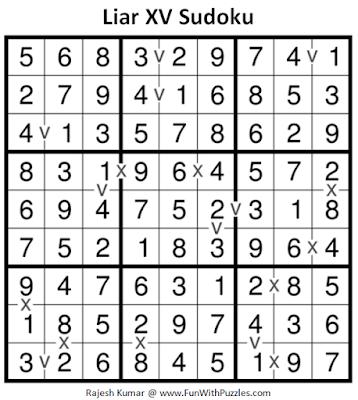Liar XV Sudoku (Fun With Sudoku #222) Puzzle Answer