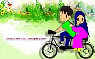 kartun pasangan remaja muslim dan muslimah berjilbab naik sepeda