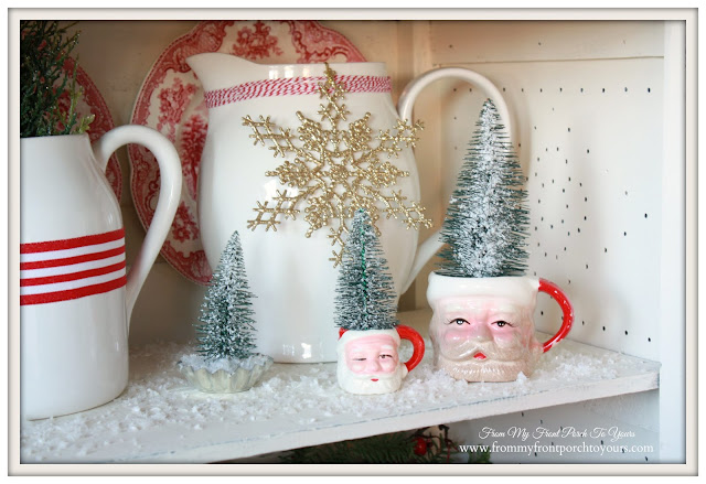 Farmhouse Christmas Kitchen-Vinatge Christmas Vignette-Santa Mugs-From My Front Porch To Yours