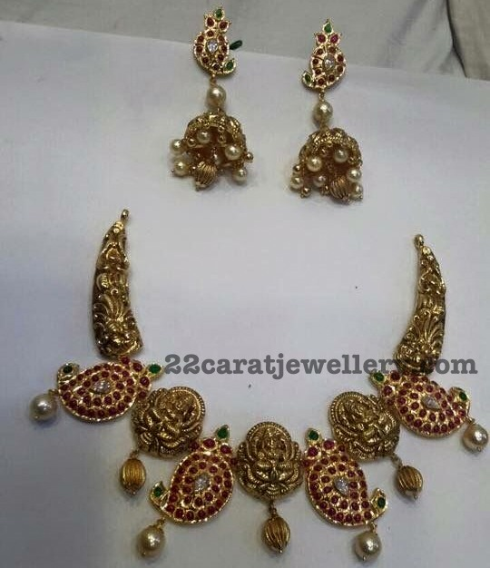 Mango Lakhsmi Necklace with Jhumkas
