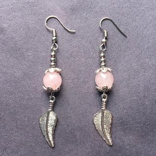 Rose Quartz Bead Dangle Earrings