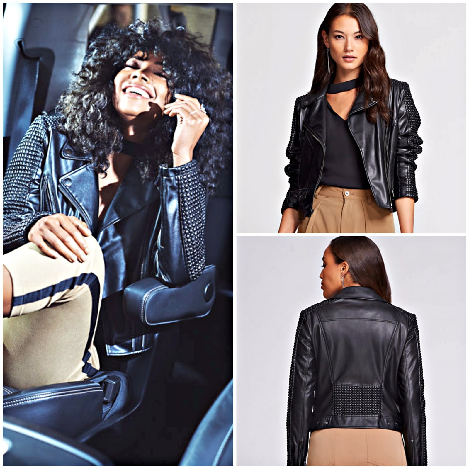 Click here to buy the FAUX LEATHER MOTO JACKET, a staple in the Gabrielle Union Collection from NY&CO