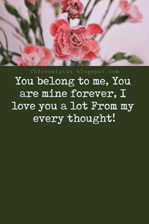 Love Text Messages, You belong to me, You are mine forever, I love you a lot From my every thought!