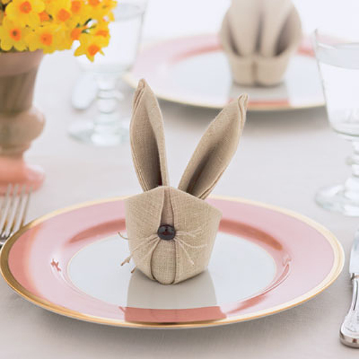 bonkers about buttons how to fold easter bunny rabbit napkins. Black Bedroom Furniture Sets. Home Design Ideas