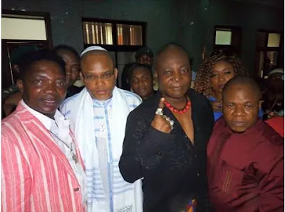 Charly Boy pictured with Nnamdi Kanu other Biafra agitators