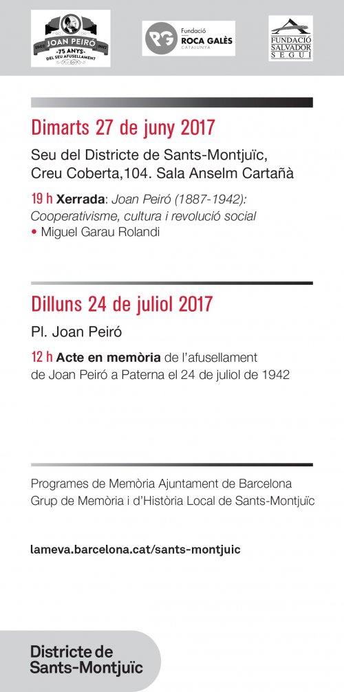 Actes a Sants en homenatge a Joan Peiró en el 75 aniversari del seu afusellament