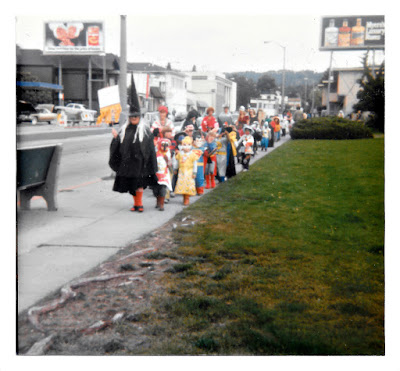 The annual Halloween Parade outside PIedmont Avenue School in the early 1980's. Jean Gamboa as the witch.