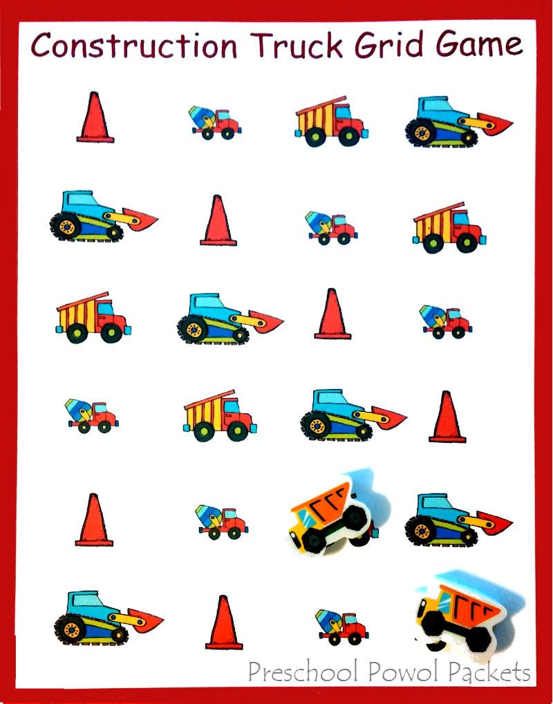 construction trucks grid game free preschool printable