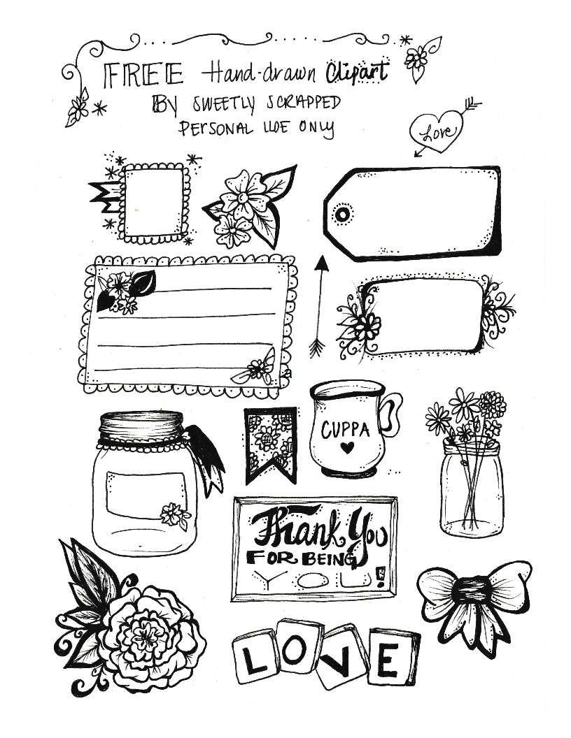 Sweetly Scrapped: *FREE* Hand Drawn Clip Art