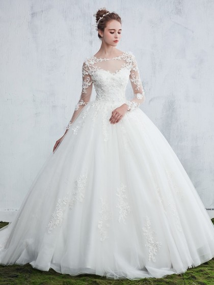 http://www.dressesofgirl.com/ball-gown-scoop-neck-tulle-sweep-train-appliques-lace-long-sleeve-beautiful-wedding-dresses-dgd00022657-5655.html?utm_source=minipost&utm_medium=DG1009&utm_campaign=blog