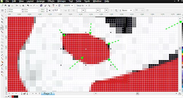 Em cada parte da imagem faça o mesmo.  Retire o contorno e deixe somente o meio.